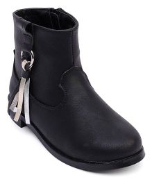 Doink Partywear Boot Shoes With Tassel - Black