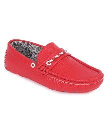 Doink Formal & Party Wear Loafer Shoes - Red