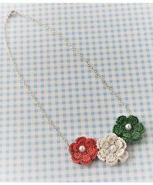 Bobbles & Scallops 3 Crochet Flowers Neckace - Pink White & Green