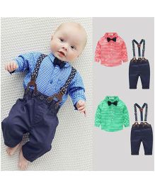 Pre Order - Awabox Checkered Shirt With A Bow & Pants With Suspenders - Blue