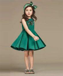 Pre Order - Awabox Bodice Applique Box Pleat Dress - Green