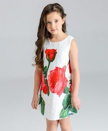 Pre Order - Awabox Rose Print Dress - White Red & Pink