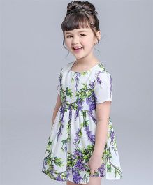 Pre Order - Awabox Summer Print Dress - White Purple & Green