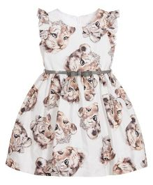 Pre Order - Awabox Cub Print Dress - Off White