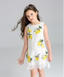 Pre Order - Awabox Lemon Print Dress - White & Yellow