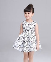 Pre Order - Awabox Doll Print Dress - White & Dark Grey