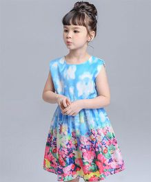 Pre Order - Awabox Floral Print Dress - Blue