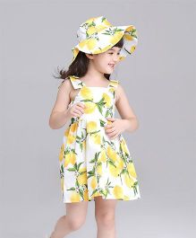 Pre Order - Awabox Lemon Print Dress - Yellow
