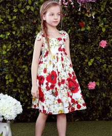 Pre Order - Awabox Tie Up Floral Dress - White & Red