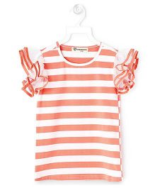 Cubmarks Striped Top With Frilled Sleeves - Orange