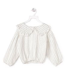 Cubmarks Peter Pan Collared Striped Crop Top - White