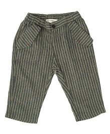 Cubmarks Striped Capri For Girls - Grey
