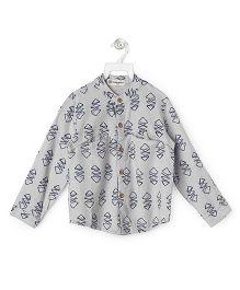 Cubmarks Jodhpuri Style Shirt With Chinese Collar - Grey