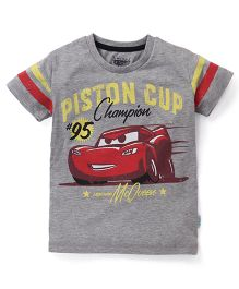 Disney Half Sleeves T-Shirt With Pixar Car Print - Dark Grey