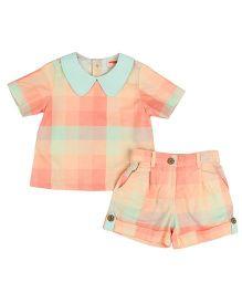 Hugsntugs Check Shorts & Top Set - Multicolor