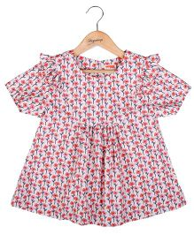 Hugsntugs Flower Print Top - Pink