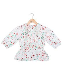 Hugsntugs Floral Print Full Sleeves Top - White