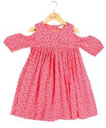 Hugsntugs Heart Print Cold Shoulder Dress - Pink