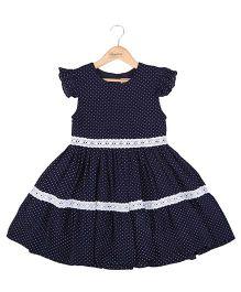Hugsntugs Dot Print Dress With Lace - Navy