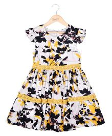 Hugsntugs Printed Dress With Yellow Lace - Yelow & Black