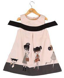 Hugsntugs Dress With Girl Border Print At Bottom - Peach