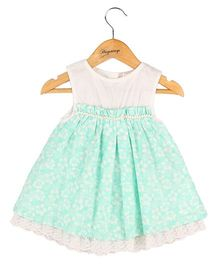 Hugsntugs Floral Infant Dress With Yoke And Lace At The Bottom - Green