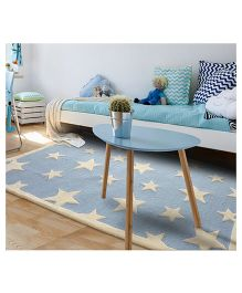 Little Looms Star Printed Rug - Light Blue