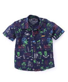 Jash Kids Half Sleeves Printed Shirt - Navy