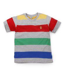 Teddy Half Sleeves Stripe T-Shirt Bear Embroidery - Multicolour