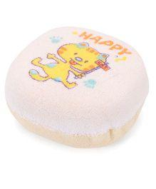 Baby Bath Sponge Happy Print - Cream off White