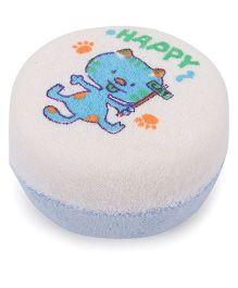 Baby Bath Sponge Happy Print - Blue off White