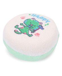 Baby Bath Sponge Happy Print - Green off White