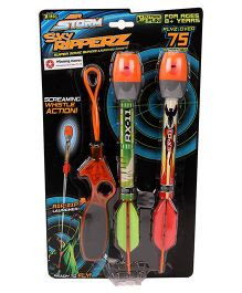 Zing Blast Off Sky Ripperz Launcher Pack of 2 Orange Green - Length 29 cm