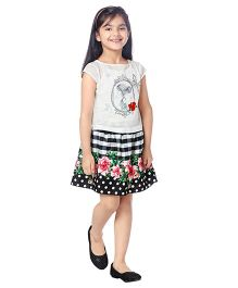 Tiny Baby Set Of Girls Printed Top With Skirt - White & Black