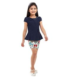 Tiny Baby Set Of Solid Peplum Top & Printed Skirt - Blue & Multicolour