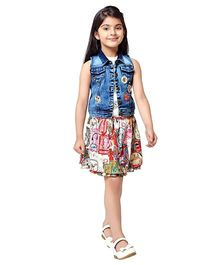 Tiny Baby Set Of Digital Printed Skirt & Top With Embellished Jacket - Multicolour