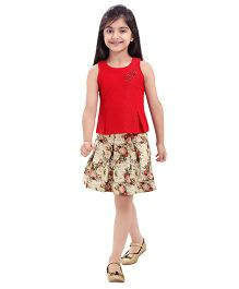 Tiny Baby Soild Top With Box Pleat Printed Skirt - Red & Multicolour