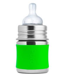 Pura Stainless Steel Feeding Bottle Green - 147 ml