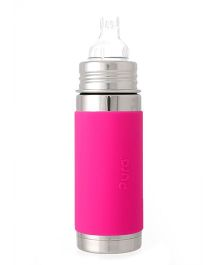 Pura Vaccum Insulated Sippy Cup Feeding Bottle Pink - 265 ml