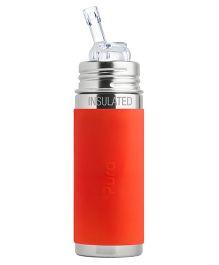 Pura Kiki Straw Vacuum Insulated Bottle Orange - 265 ml