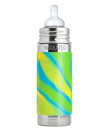 Pura Stainless Steel Insulated Infant Bottle With Silicone Medium-Flow Nipple & Sleeve Green Aqua - 260 ml