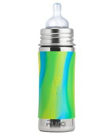Pura Stainless Steel Infant Bottle With Silicone Sleeve And Natural Vent Nipple Green & Aqua - 325 ml