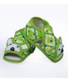 Soft Tots Cartoon Design Sandals - Green & White