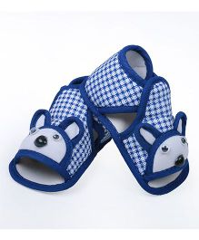 Soft Tots  Design Checkered Booties - Blue