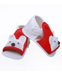 Soft Tots Design Checkered Booties - Red & White