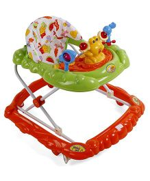 Musical Baby Walker With Play Tray - Green Orange