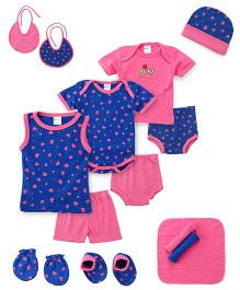 Montaly Cloth Gift Set Heart Print Blue Pink - 14 Pieces