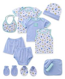 Montaly Cloth Gift Set Animal Print White Blue - 12 Pieces