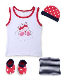 Cloth Gift Set Bear Print White Red - 4 Pieces