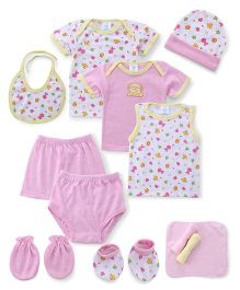 Montaly Cloth Gift Set Animal Print White Pink - 12 Pieces